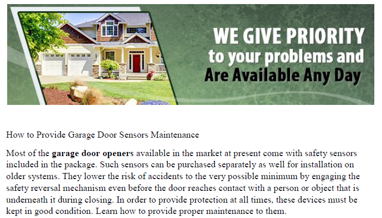 How to Provide Garage Door Sensors Maintenance - Garage Door Service Palos Hills
